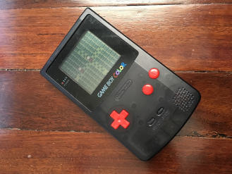 Game prototype running on Game Boy Color console